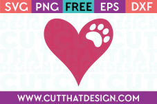 SVG Paw Print Heart Free Download
