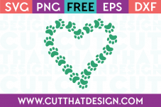 Free Paw Print Heart SVG Design