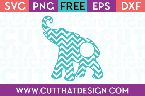 Elephant SVG Cutting Files Monogram Chevron