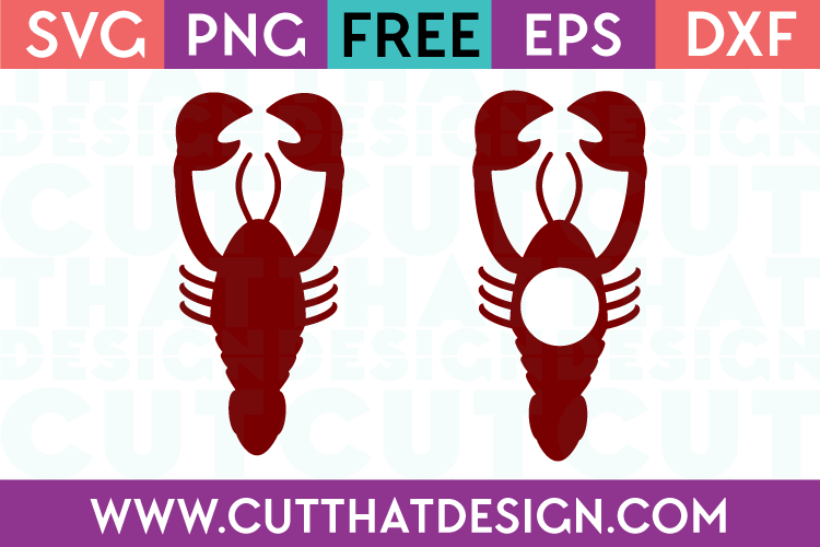 lobster silhouette and monogram design free svg files from cut