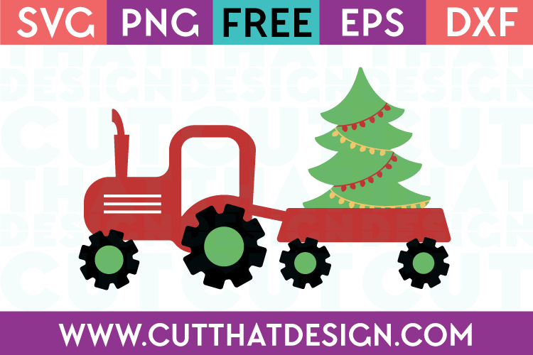 Tractor and Christmas Tree Free SVG