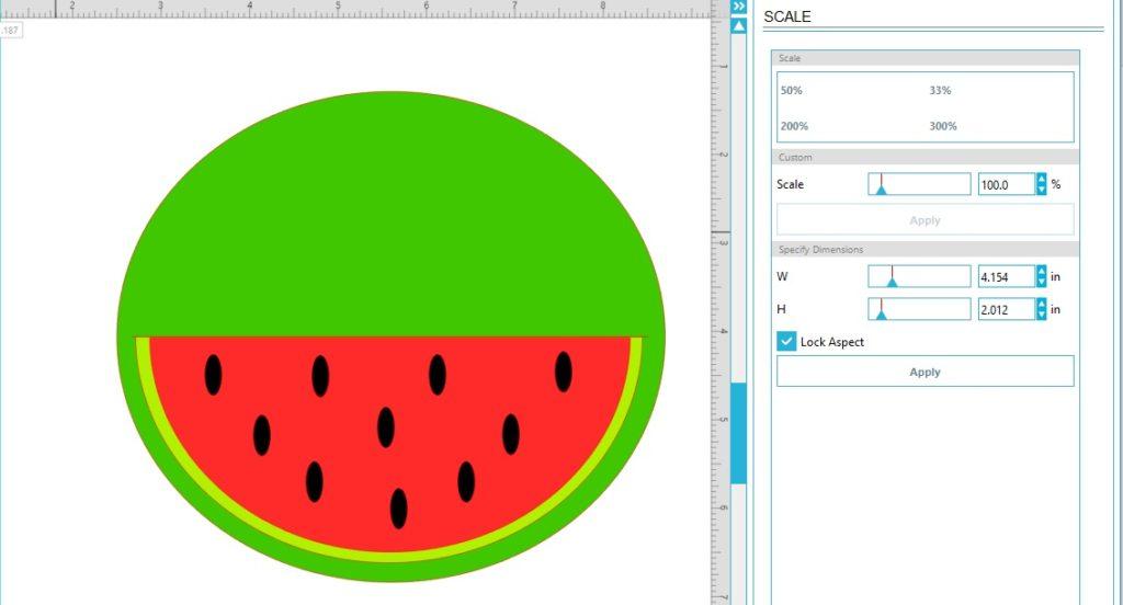 Watermelon card in silhouette studio
