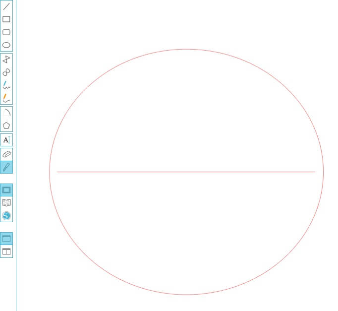 Using draw a line tool sraw a line through the centre of the circle