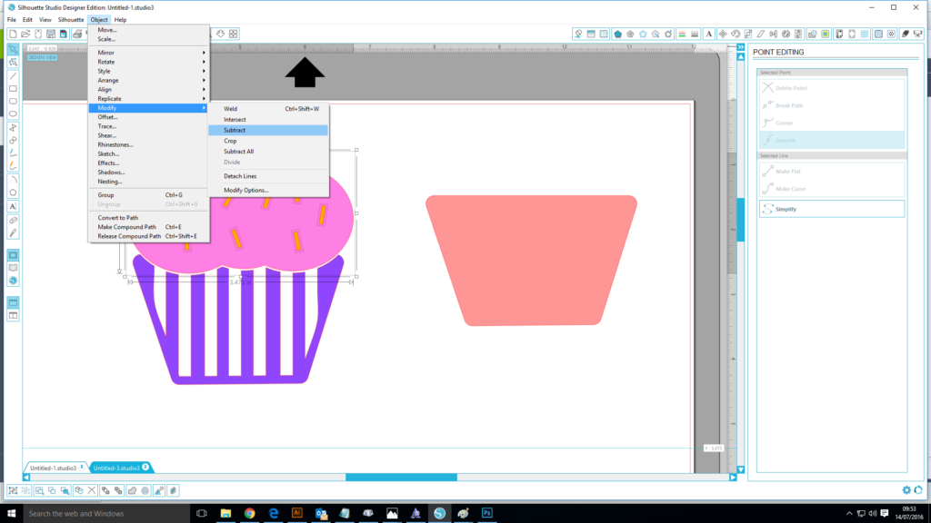 Subtract tool Silhouette Studio