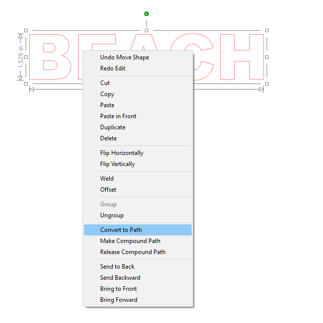 2, Right click, convert to path