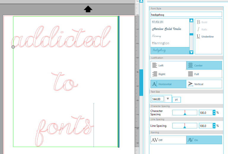 Using special characters in silhouette studio