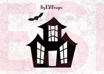 Halloween bat and house svg
