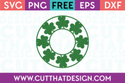 Free Shamrock Circle Monogram Frame SVG Cutting File