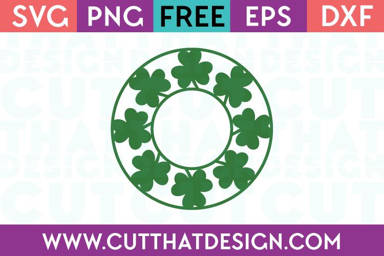 Free Shamrock Circle Monogram Frame SVG Cutting File
