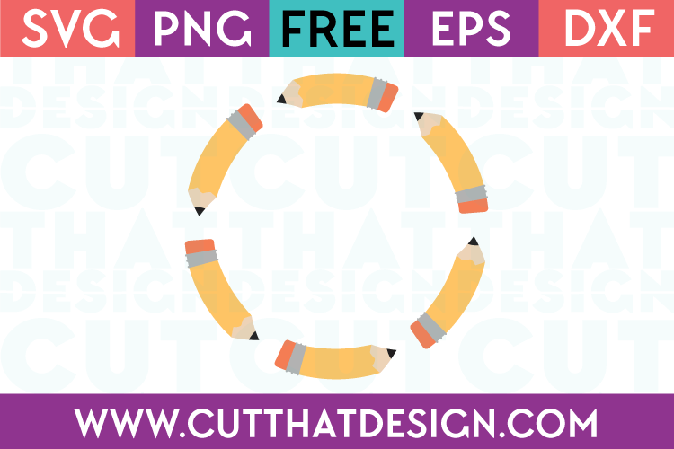 Pencil Circle Monogram Frame Design Free SVG