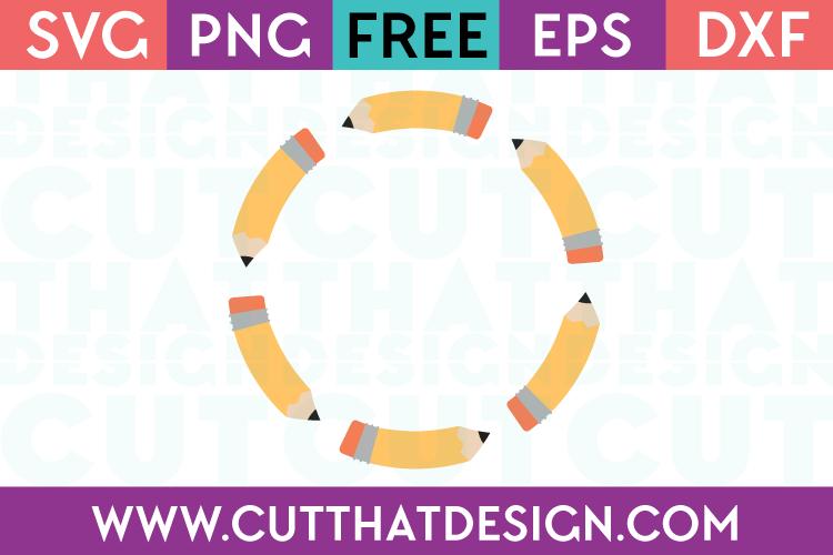 Pencil Circle Monogram Frame Design Free SVG