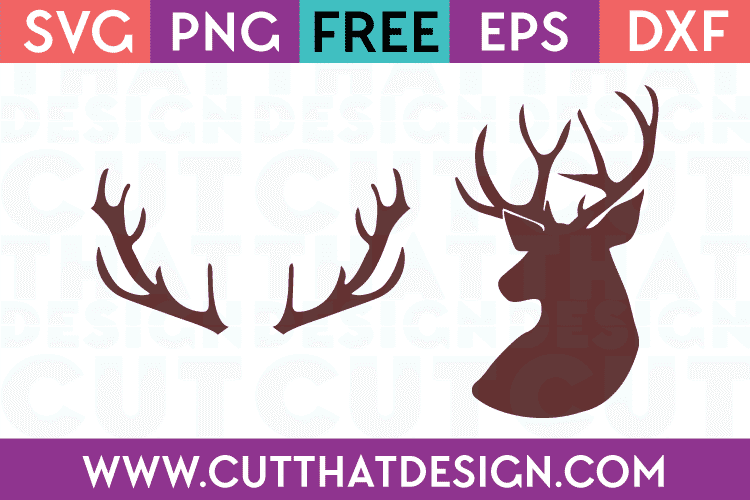 Deer Head and Antlers Free SVG