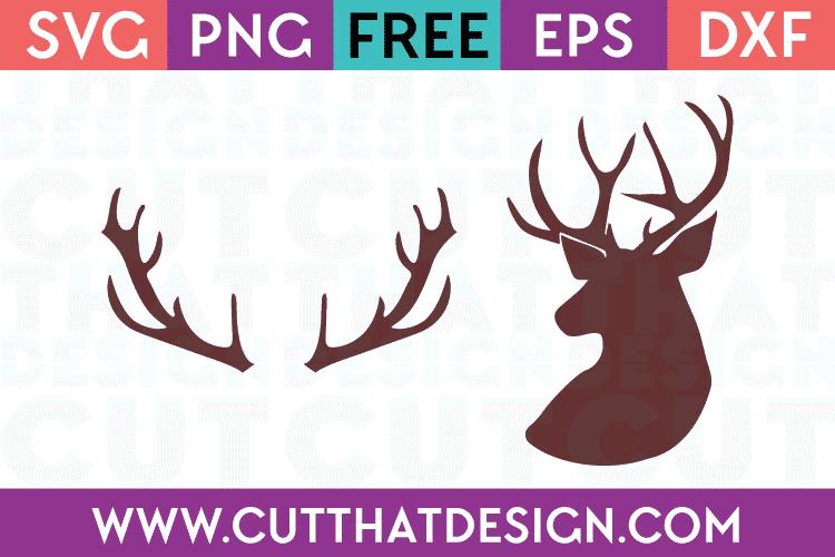 Deer Head and Antlers Free SVG