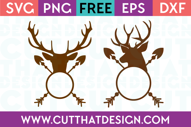 Free SVG Files Deer Head Arrow Monogram Designs Set SVG Format