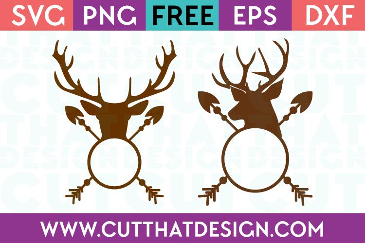Free SVG Files Deer Head Arrow Monogram Designs Set SVG Format