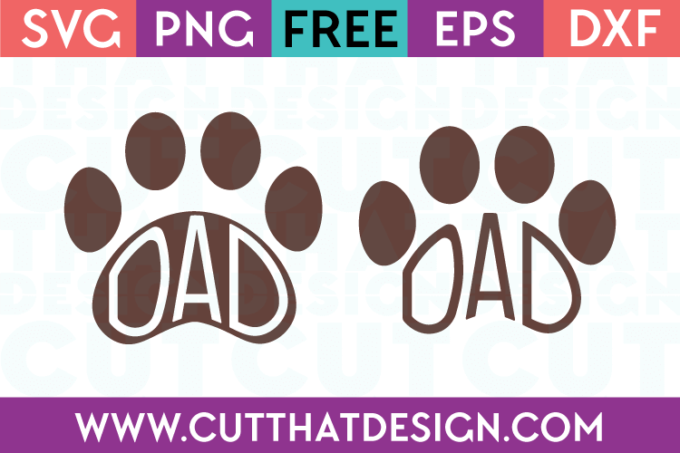 Free Dad Paw Print Designs SVG