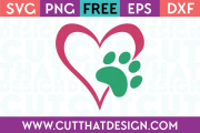 Free Paw Print Heart Designs SVG