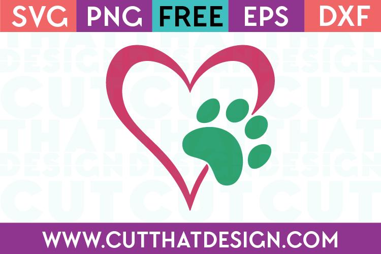 Free Paw Print Heart Designs SVG