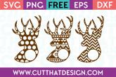 Patterned Deer Head Monogram Designs Free SVG Cutting Files