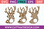 Patterned Deer Head Monogram Designs Free SVG Cutting Files