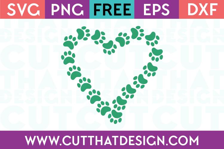 Free Paw Print Heart SVG Design