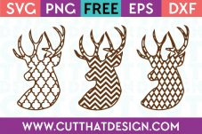 Deer Heads Patterned SVG Cut Files