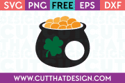 Free Cutting File St Patricks Day Pot of Gold Shamrock Monogram