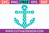 Free Polka Dot Patterned Anchor SVG Cut File