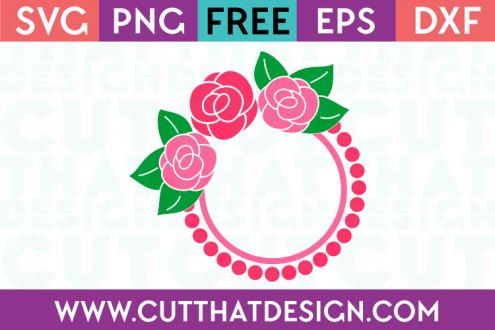 Rose Circle Monogram SVG Frame Free