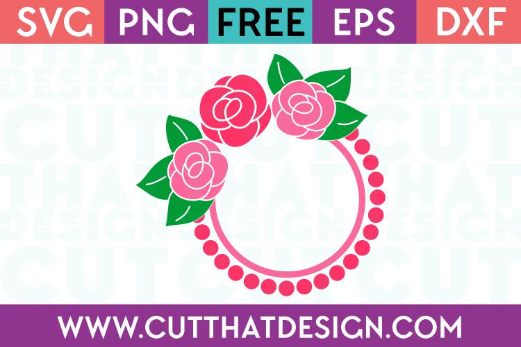Rose Circle Monogram SVG Frame Free