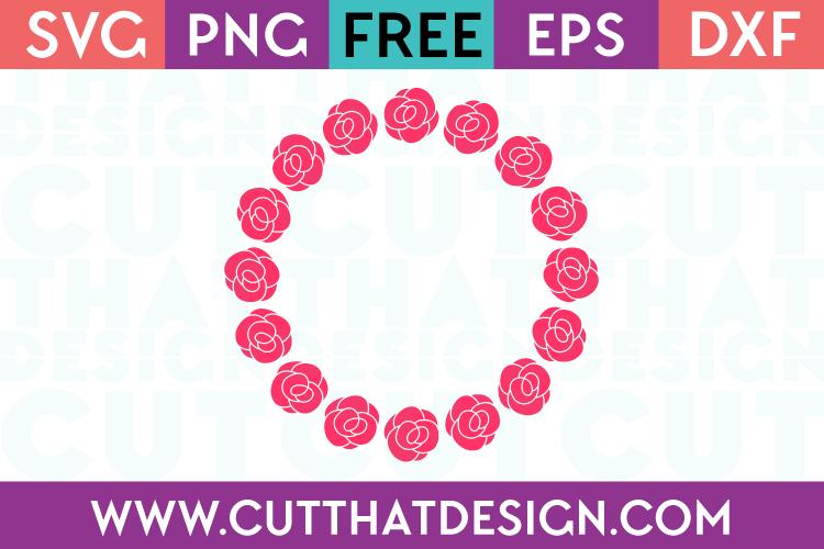 Free SVG Rose Flower Circle Monogram Frame Design 4 | Cut That Design
