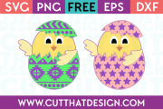 Aztec and Star Pattern Chicks in Eggs Free SVG