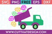 Free Easter Eggs Truck Polka Dot SVG