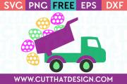 Free Easter Eggs Truck Polka Dot SVG