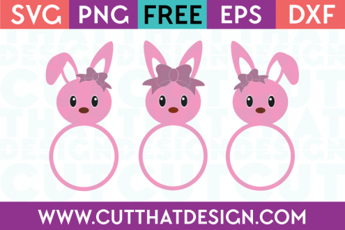 Free Easter SVG Bunny Heads with Bows