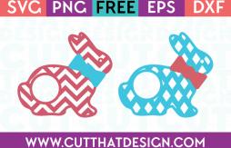 Free SVG Easter Bunny Patterned Monogram