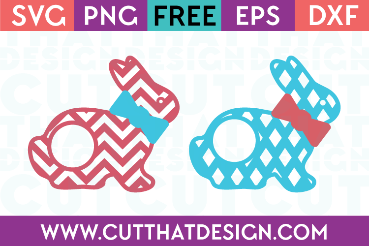 Free SVG Easter Bunny Patterned Monogram
