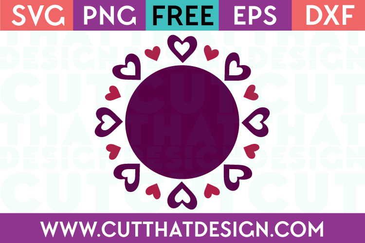 Circle Frames SVG Free Valentines Theme