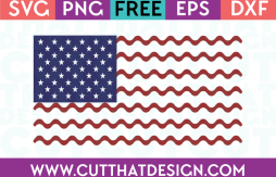 Free SVG Files USA Flag Wavy Line Design