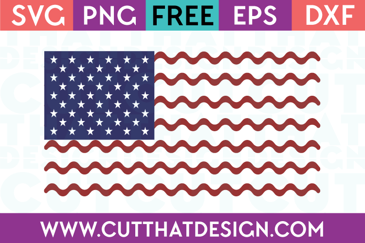 Free SVG Files USA Flag Wavy Line Design