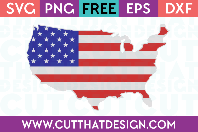 Free SVG Files USA Outline Flag Design