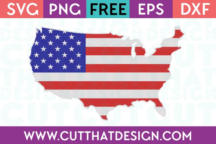 Free SVG Files USA Outline Flag Design