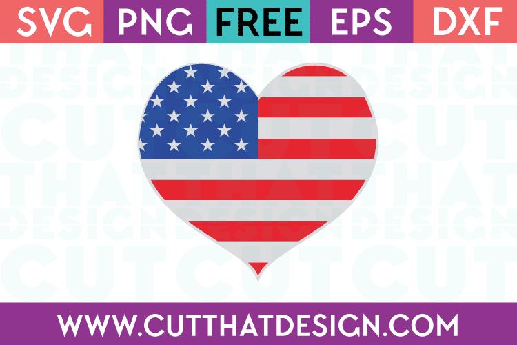 Free SVG Files USA Flag Heart Design