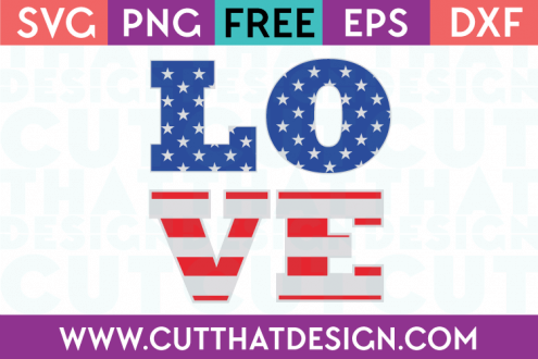 Free SVG Files USA Flag Love Design