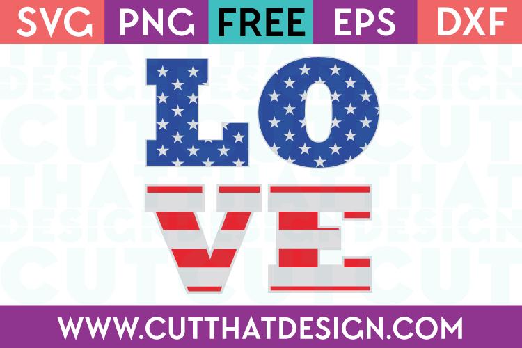 Free SVG Files USA Flag Love Design