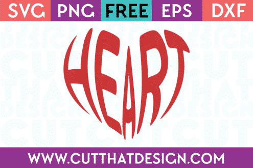 Free Heart Wordart SVG