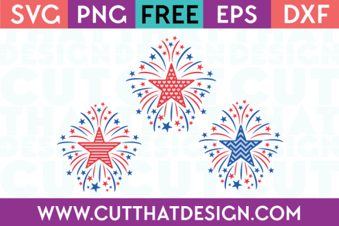 Free SVG Files Star Firework Designs Set, Heart, Stripe and Chevron