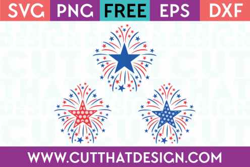 Free SVG Files Star Firework Designs Set Plain, Polka Dot and Star