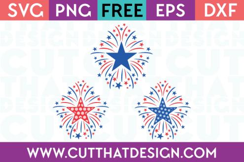 Free SVG Files Star Firework Designs Set Plain, Polka Dot and Star