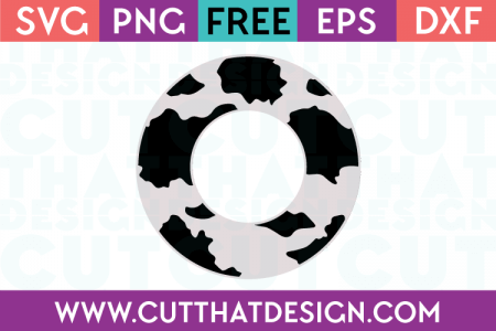 Free Cow Print Monogram Circle Frame SVG